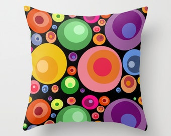 Psychedelic black pillow cover-Abstract circles decorative pillow-Pop art-Colourful-Cool-Mid Century 16x16 pillow-18x18-20x20-Modern