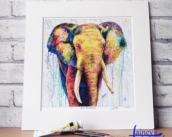 elephant PRINT, limited edition print, giclee print, elephant, African elephant, elephant lover, home decor, bedroom art, elephant wall art