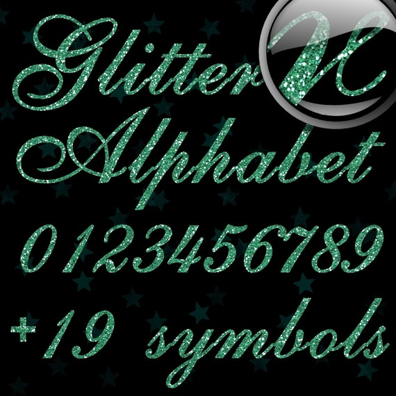 Mint Green Glitter Alphabet, Digital Glitter Alpha, Green Digital Alphabet Letters, Green Glitter Letters, Large Glitter Letters,Design #127