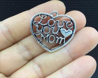 4pcs Love you Mom Heart Frame Tibetan Silver Charm 28x25mm