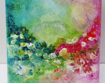 Floral Painting, Miniature Painting, Acrylic Painting Canvas Art, Abstract Floral, Original Artwork