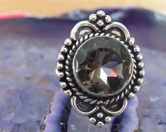 Sterling silver Natural Brown Topaz Ring Size 8 - Natural Stone Ring - ring size 8 - Gemstone Ring - Smokey Topaz ring - Boho Chic