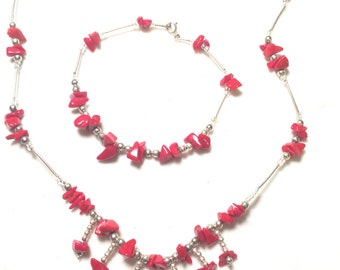 925 sterling silver with red stone bracelet and necklace (n155)