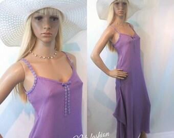 Silk Romantic Summer Clothing Lilac Asymmetrical Slip Dress Silk Slip Bias Dress Swimwear Cover Up Beach Dress Summer Nightgown Resort Wear