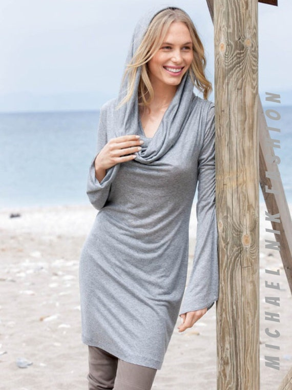 Hooded Cowl Neck Sweater /Casual Long Sleeve Yoga Dress All