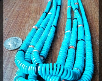 Santo Domingo (Kewa) four strand turquoise necklace, Native American necklace, Native American jewelry, heishi, turquoise