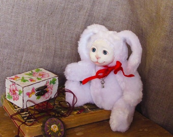 OOAK teddy doll, mini teddy rabbit, artist teddy doll, teddy rabbit, ooak doll, teddy doll, bunny, teddy hare