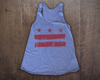 D.C. FLAG - Womens American Apparel Tri-Blend Tank Top - all sizes available - vintage soft & comfy washington dc flag national tank UG636