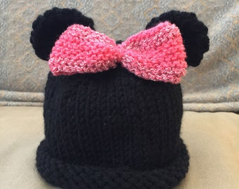 Hand knit Minnie Mouse hat