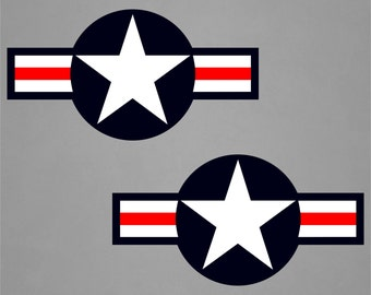 2 Red White & Blue US Air Force Insignia Decal - Removable or Permanent Wall Art Decal