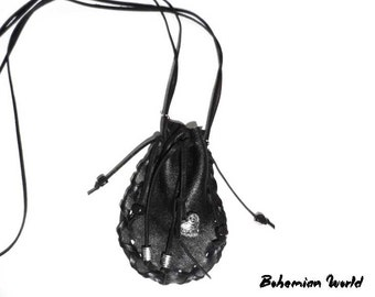 Medicine leather bag, Leather drawstring pouch, Amulet bag, medicine leather bag, Neck bag, Leather medicine pouch, Accessory bag