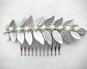 Laurel Leaf Comb Silver Laurel Comb Bridal Hair Comb Pearl Hair Comb Pearl Headpiece Bridal Headpiece Grecian Wedding Greek Hair