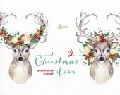 Christmas Deer 2. Watercolor deers, antlers, flowers, hand painted clipart, reindeer, floral, invite, country, diy clip art, horns, holiday