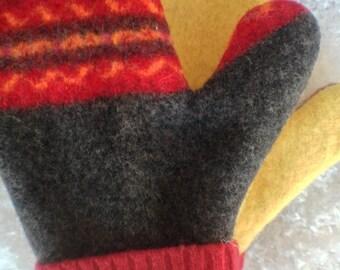 Handmade Felted Wool Mittens