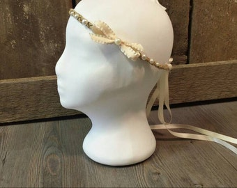 Bow and pearl bohemian/gypsy/boho/hippie ribbon headband
