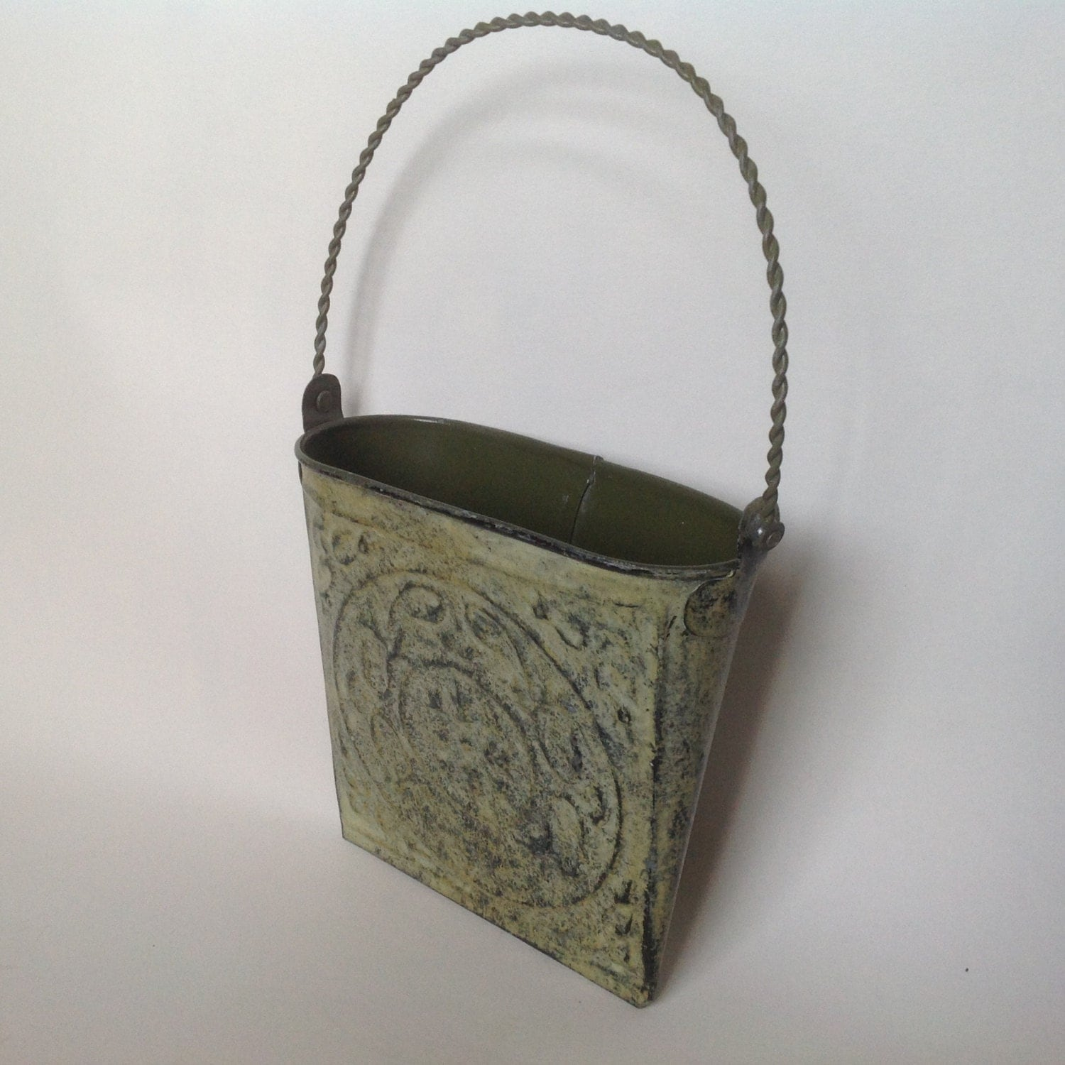 Vintage Tin Wall Pocket Door or Wall Metal Basket Dried