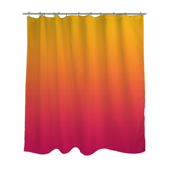 Sunset Yellow Orange Red Ombre Shower Curtain / Bright BOLD