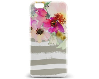 1398 // Watercolor Flower Bouquet on Stripes Phone Case iPhone 5/5S, 6/6+, 6S/6S+, Samsung Galaxy S5, S6, S7