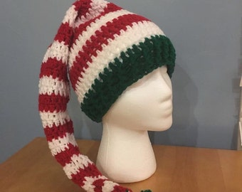Crochet elf beanie, hat, crochet stocking cap, beanie, stocking cap, elf stocking cap, elf beanie, elf hat