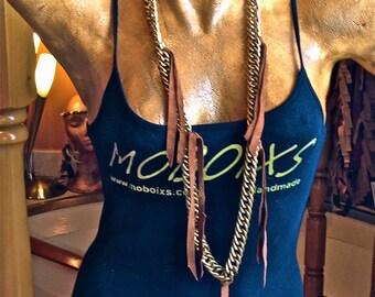 FREE SHIPPING!!!Leather and chain necklace, boho,hippie,chic,gypsy,ethnic,collar de piel y cadena, étnico