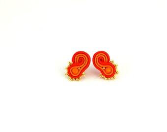 red orange earrings, stud earrings, golden earrings, office earrings, colorful earrings, soutache earrings, bohemian earrings, minimalist