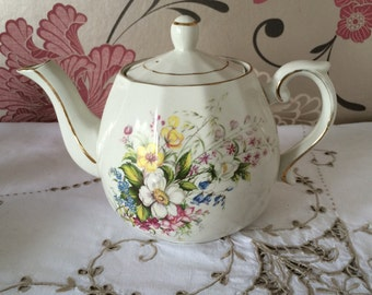 Ellgreave (Division of Wood & Sons) Genuine Ironstone 4-5 Cup Teapot. Pretty Floral Pattern. Made in England c. 1960s.