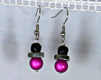 Bright Pink and Black Hex Nut Earrings, free-shipping
