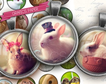 "Bunnies, Rabbits Image Collage Sheet inch Round Circles for Bottle Caps, Digital Collage Sheet, 1.5"", 1.25"", 30mm, 1 inch Circles td332"