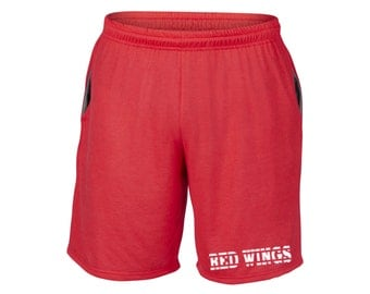 Mens Red Wings Shorts Red Sizes Small - 2XL