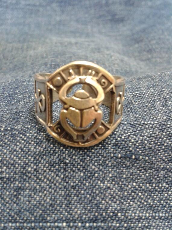 vintage silver revival scarab ring