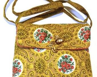 Bag pouch fabric vintage beige/mustard
