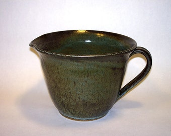 Batter Bowl, stoneware pottery in a copper green variegated glaze, 6 x 7
