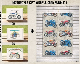 Dirty Sportsbikes - Gift Wrap - Wrapping Paper - Wrap + Card Bundle No. 4 | Sportsbikes A2 Premium Satin Finish Wrap + ANY CARD!
