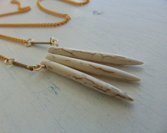 White Turquoide & Gold Bar Fringe Necklace