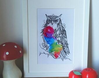 Rainbow Owl zentangle, zendoodle art, Print of my original painting.