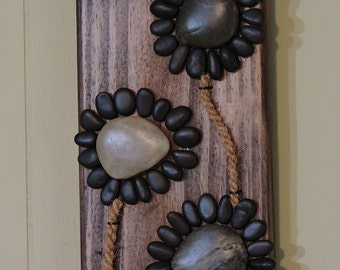 Pebble Art, Stone Art, Shell Art - Sunflowers on reclaimed wood 5.5x20