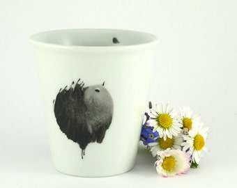 Porcelain cup, ceramic mug, coffee Cup for Espresso With Black Bird,Hand painted
