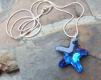 Simply Starfish Pendant, Swarovski Crystals, Sterling Silver