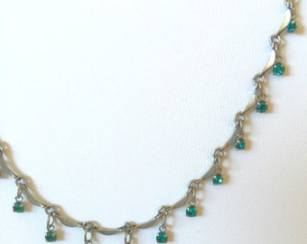 Vintage sterling silver necklace with Bellagio USA crystal turquoise blue stones hallmarked 15 inch chain artisan made.