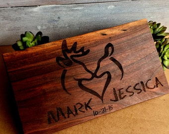 Cutting Board, Wedding Gift, Gift for Bride and Groom, Anniversary Gift, Personalized Board, Custom Cutting Board