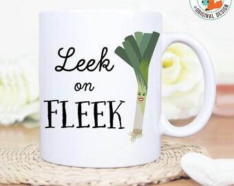 Coffee Mug Leek on Fleek Funny Pun Coffee Mug - Great Gift for Vegan or Vegetarian - Funny Mug