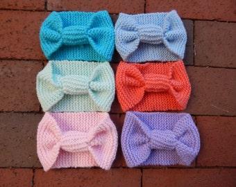 Pastel Knit Bow Headband - Ear Warmer - 6 color options!