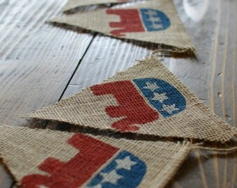 Republican Election Year Elephant Red White and Blue American Stars and Stripes Banner Bunting