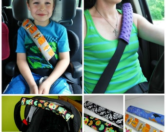 Custom Padded seat belt strap cover reversible / booster and adult