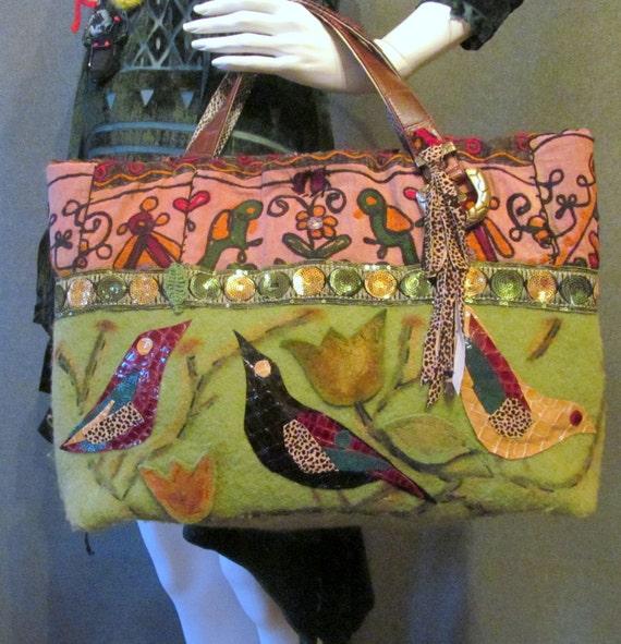Handbag with green felt. Green handbag. Brown handbag. Boho handbag. Original green handbag. Ready to ship.
