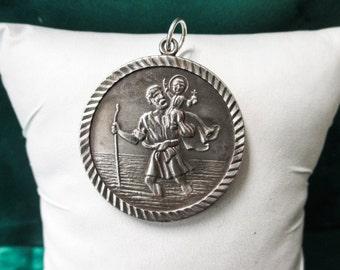 STERLING Silver Saint Christopher Pendant