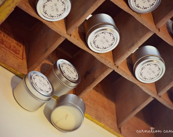 120 Custom Soy Candle Wedding Favors - 2 ounce tins