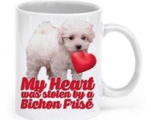 Bichon frise gifts - Cute bichon frise mug - My heart was stolen by a bichon frise