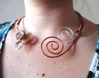 Asymmetrical Necklace ( torque ) wire aliminium silver & copper