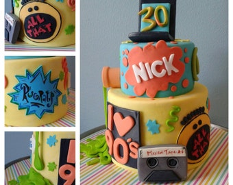 Nickelodeon I LOVE the 90's!  Fondant Cake decor, All That, Rugrats, Slime Cassette tape, cell phone, WHOLE SET